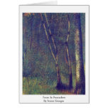 Forest In Pontaubert By Seurat Georges Greeting Card
