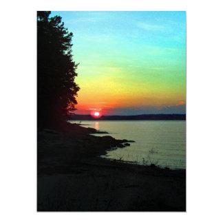 Forest Lake Beach Sunset Rainbow Sky Photo 6.5x8.75 Paper Invitation Card