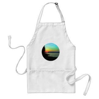 Forest Lake Beach Sunset Rainbow Sky Photo Adult Apron