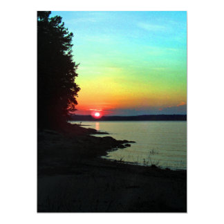 Forest Lake Beach Sunset Rainbow Sky Photo Card