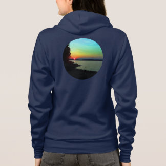 Forest Lake Beach Sunset Rainbow Sky Photo Hoodie