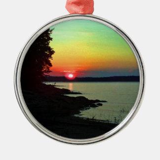 Forest Lake Beach Sunset Rainbow Sky Photo Metal Ornament