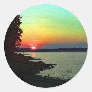 Forest Lake Beach Sunset Rainbow Sky Photo Classic Round Sticker