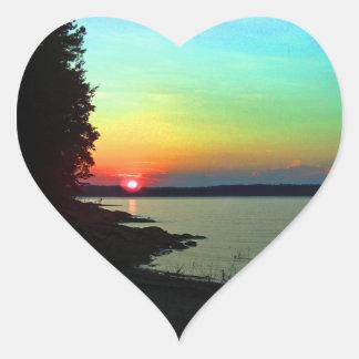 Forest Lake Beach Sunset Rainbow Sky Photo Heart Sticker