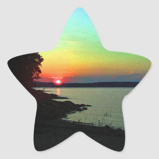 Forest Lake Beach Sunset Rainbow Sky Photo Star Sticker