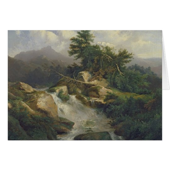 Forest Landscape with Waterfall Card