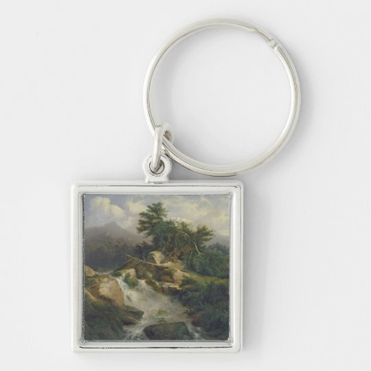 Forest Landscape with Waterfall Keychain