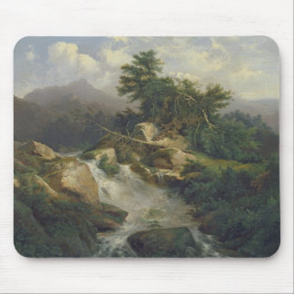 Forest Landscape with Waterfall Mouse Pad