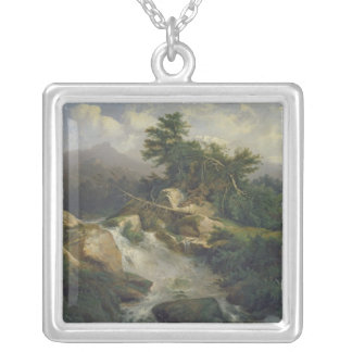 Forest Landscape with Waterfall Silver Plated Necklace