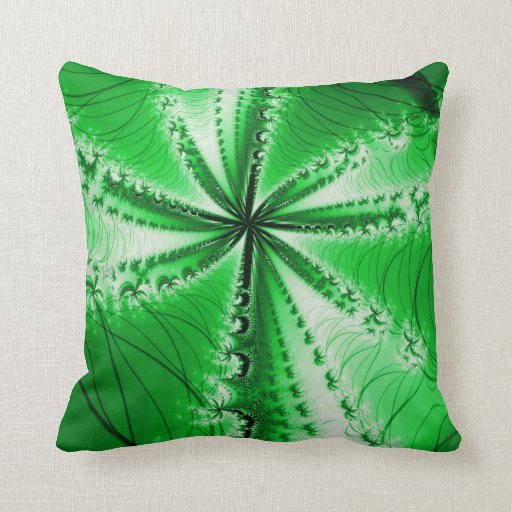 Forest Leafy Plant Fractal Pillow