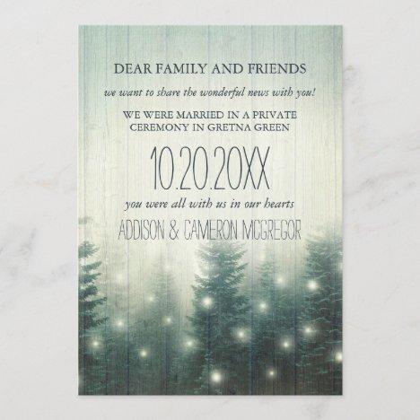 Forest Lights | Rustic Elopement Announcement