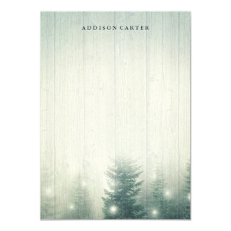 Forest Lights   Rustic Personalized Stationery Card