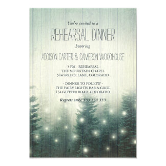 Forest Lights | Rustic Rehearsal Dinner Card