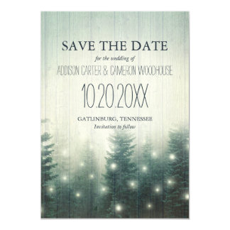 Forest Lights | Rustic Save the Date Card