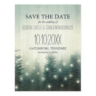 Forest Lights | Rustic Save the Date Postcard