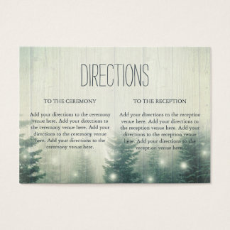 Forest Lights | Rustic Wedding Directions Business Card