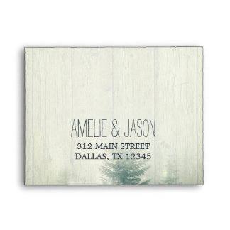 Forest Lights & Wood Grain   Wedding RSVP Envelope