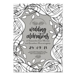 Forest Line Floral Spring Wedding Card