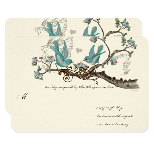 Forest Love Birds Aqua Pink Wedding RSVP Card
