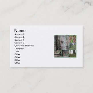 Forest Love - Heart in Tree Green Photo Collage Business Card