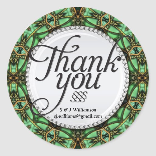 Forest Magic Gold Green Thank You Stickers