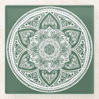 Forest Mandala Glass Coaster
