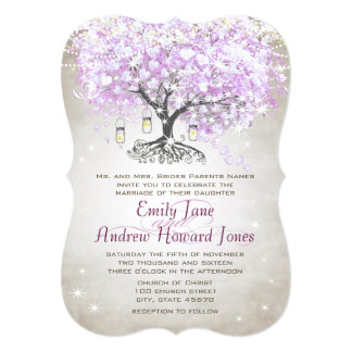 Forest Mason Jar Lavender Leaf Tree Wedding Card