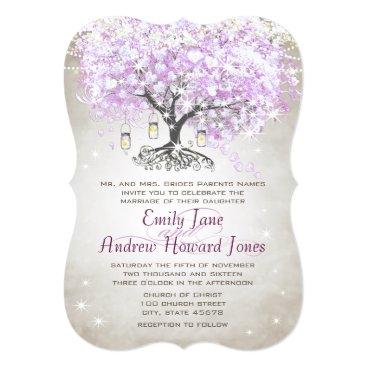 Valentines Themed Forest Mason Jar Lavender Leaf Tree Wedding Card