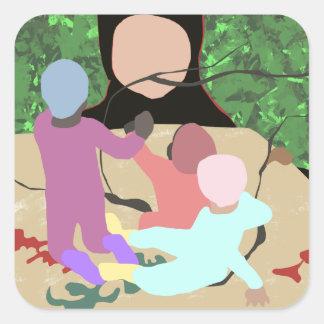 Forest Miro Square Sticker