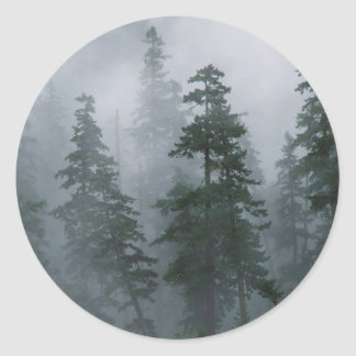 Forest Mist Clearing Storm Mount Hood Classic Round Sticker