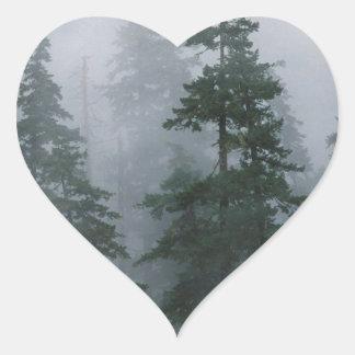 Forest Mist Clearing Storm Mount Hood Heart Sticker