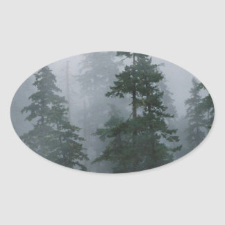Forest Mist Clearing Storm Mount Hood Oval Sticker