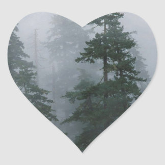 Forest Mist Clearing Storm Mount Hood Heart Stickers