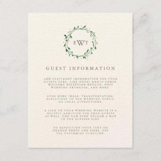 Forest Monogram Wreath Wedding Guest Details Enclosure Card