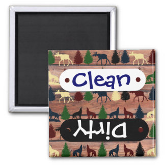 Forest Moose Wolf Wilderness Mountain Cabin Rustic 2 Inch Square Magnet