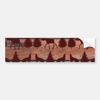 Forest Moose Wolf Wilderness Mountain Cabin Rustic Car Bumper Sticker