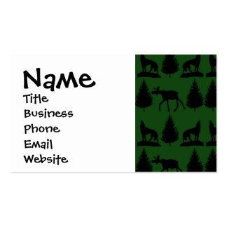 Forest Moose Wolf Wilderness Mountain Cabin Rustic Business Card