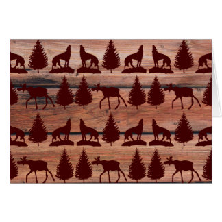 Forest Moose Wolf Wilderness Mountain Cabin Rustic Card