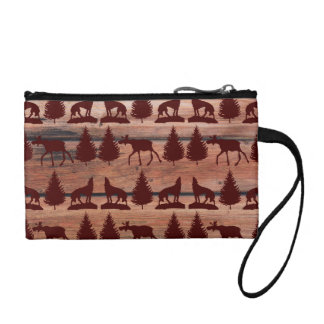 Forest Moose Wolf Wilderness Mountain Cabin Rustic Change Purse
