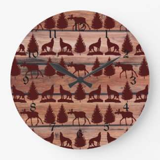 Forest Moose Wolf Wilderness Mountain Cabin Rustic Wall Clock