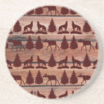 Forest Moose Wolf Wilderness Mountain Cabin Rustic Drink Coasters