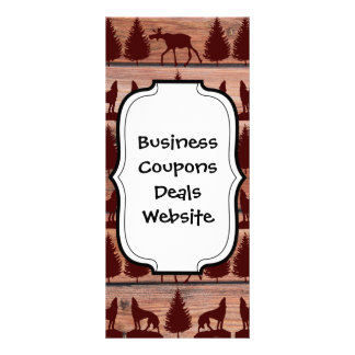 Forest Moose Wolf Wilderness Mountain Cabin Rustic Customized Rack Card