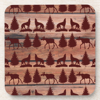 Forest Moose Wolf Wilderness Mountain Cabin Rustic Drink Coaster