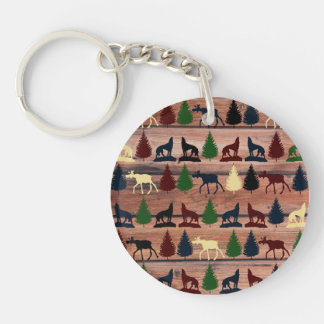 Forest Moose Wolf Wilderness Mountain Cabin Rustic Double-Sided Round Acrylic Keychain
