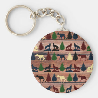 Forest Moose Wolf Wilderness Mountain Cabin Rustic Basic Round Button Keychain