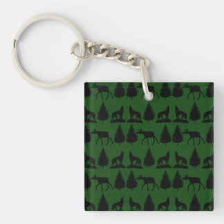 Forest Moose Wolf Wilderness Mountain Cabin Rustic Double-Sided Square Acrylic Keychain
