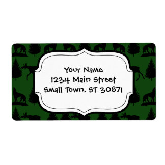 Forest Moose Wolf Wilderness Mountain Cabin Rustic Labels