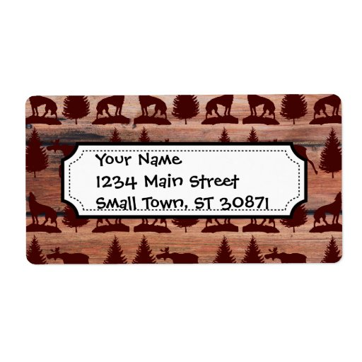 Forest Moose Wolf Wilderness Mountain Cabin Rustic Shipping Labels