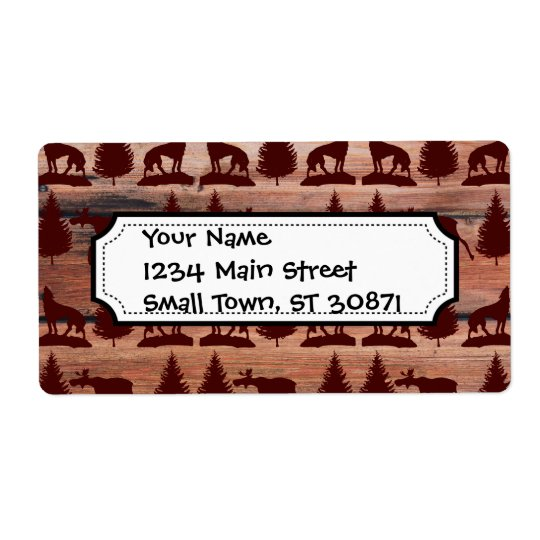 Forest Moose Wolf Wilderness Mountain Cabin Rustic Label