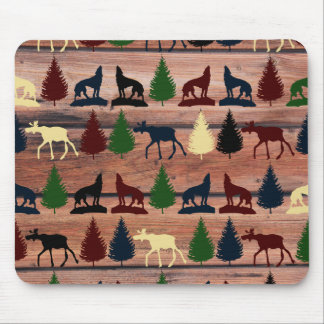 Forest Moose Wolf Wilderness Mountain Cabin Rustic Mouse Pad